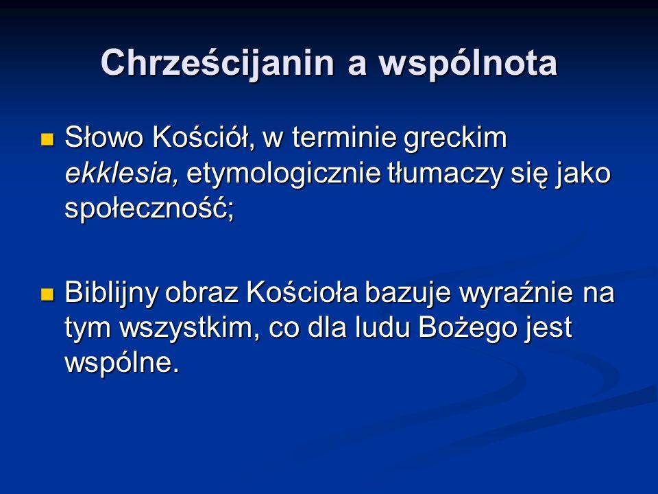 Chrześcijanin a wspólnota Słowo Kościół, w terminie greckim ekklesia, etymologicznie tłumaczy się jako społeczność; Słowo Kościół, w terminie greckim