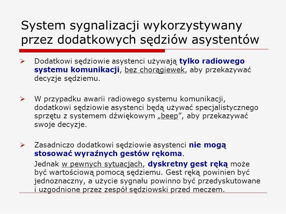 System sygnalizacji wykorzystywany przez dodatkowych sędziów asystentów Dodatkowi sędziowie asystenci używają tylko radiowego systemu komunikacji, bez