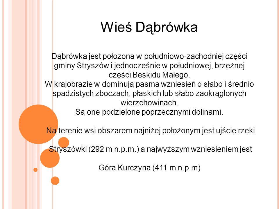 Wieś Dąbrówka Dąbrówka jest położona w południowo-zachodniej części gminy Stryszów i jednocześnie w południowej, brzeżnej części Beskidu Małego.