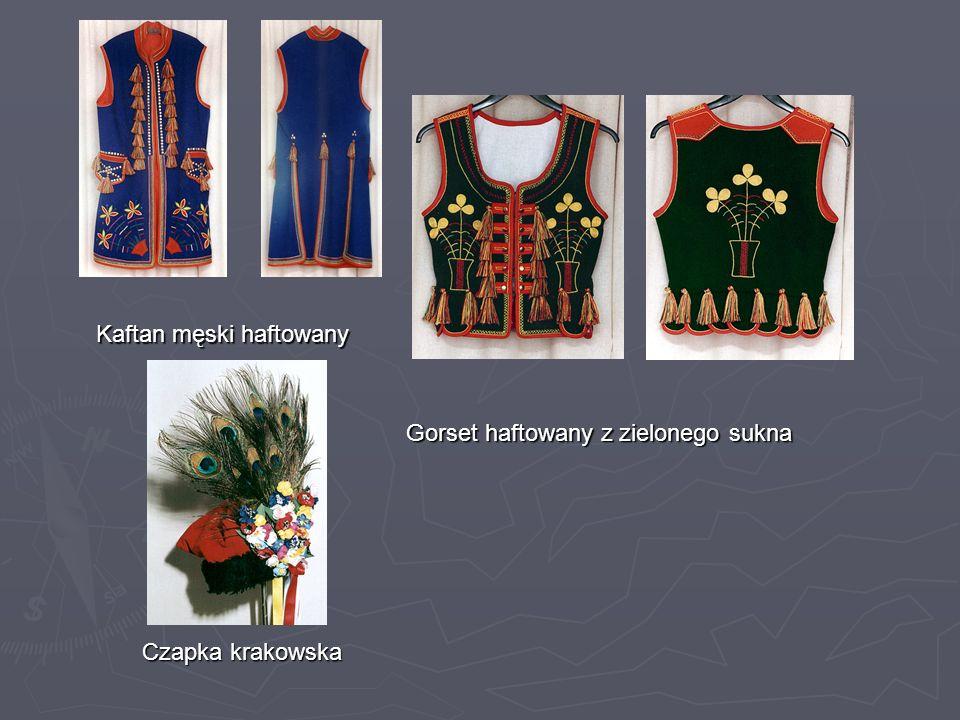 Kaftan męski haftowany Gorset haftowany z zielonego sukna Czapka krakowska