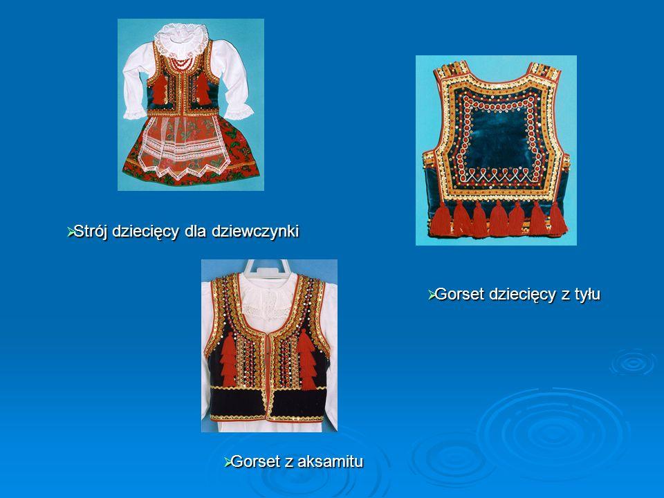 Region Kaszubski Stroje damskie Strój męski niebieski Haft na rękawie bluzki damskiej Gorset Haft na gorsecie