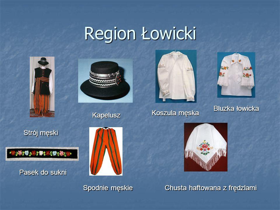 Region Łowicki Strój męski Kapelusz Koszula męska Bluzka łowicka Spodnie męskie Chusta haftowana z frędzlami Pasek do sukni
