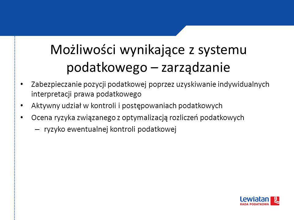 Możliwości wynikające z systemu podatkowego – zarządzanie Zabezpieczanie pozycji podatkowej poprzez uzyskiwanie indywidualnych interpretacji prawa pod