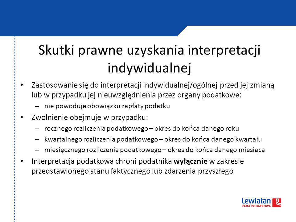 Skutki prawne uzyskania interpretacji indywidualnej Zastosowanie się do interpretacji indywidualnej/ogólnej przed jej zmianą lub w przypadku jej nieuw