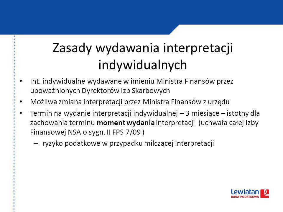 Zasady wydawania interpretacji indywidualnych Int. indywidualne wydawane w imieniu Ministra Finansów przez upoważnionych Dyrektorów Izb Skarbowych Moż