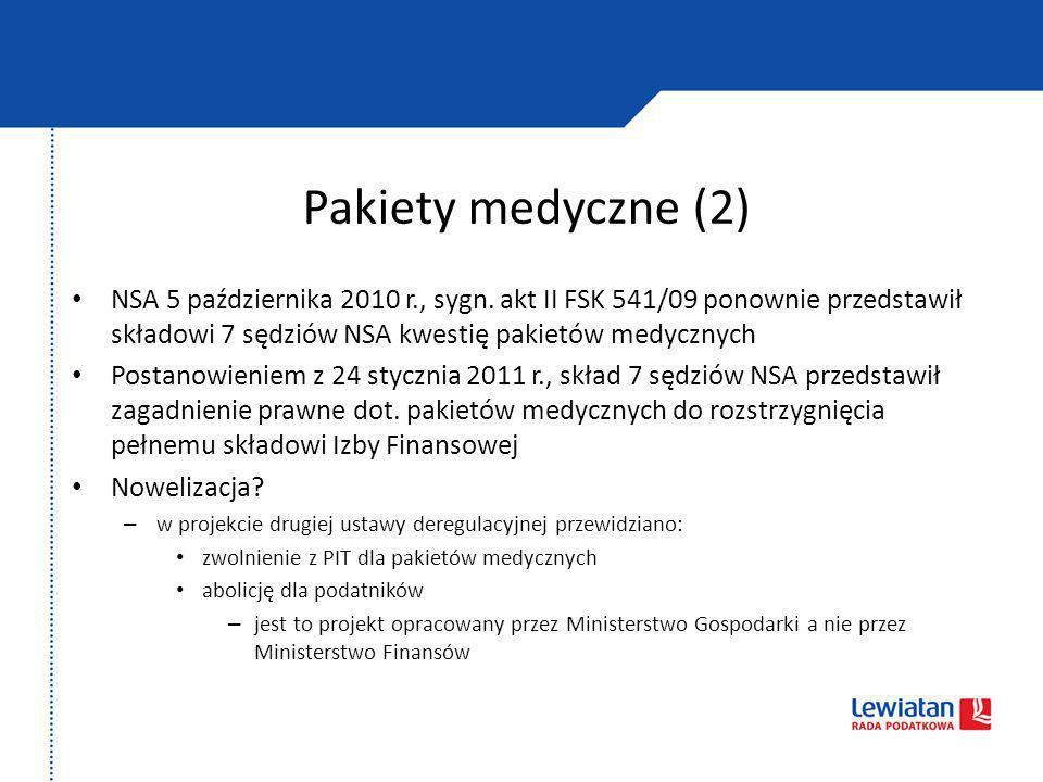 Pakiety medyczne (2) NSA 5 października 2010 r., sygn. akt II FSK 541/09 ponownie przedstawił składowi 7 sędziów NSA kwestię pakietów medycznych Posta
