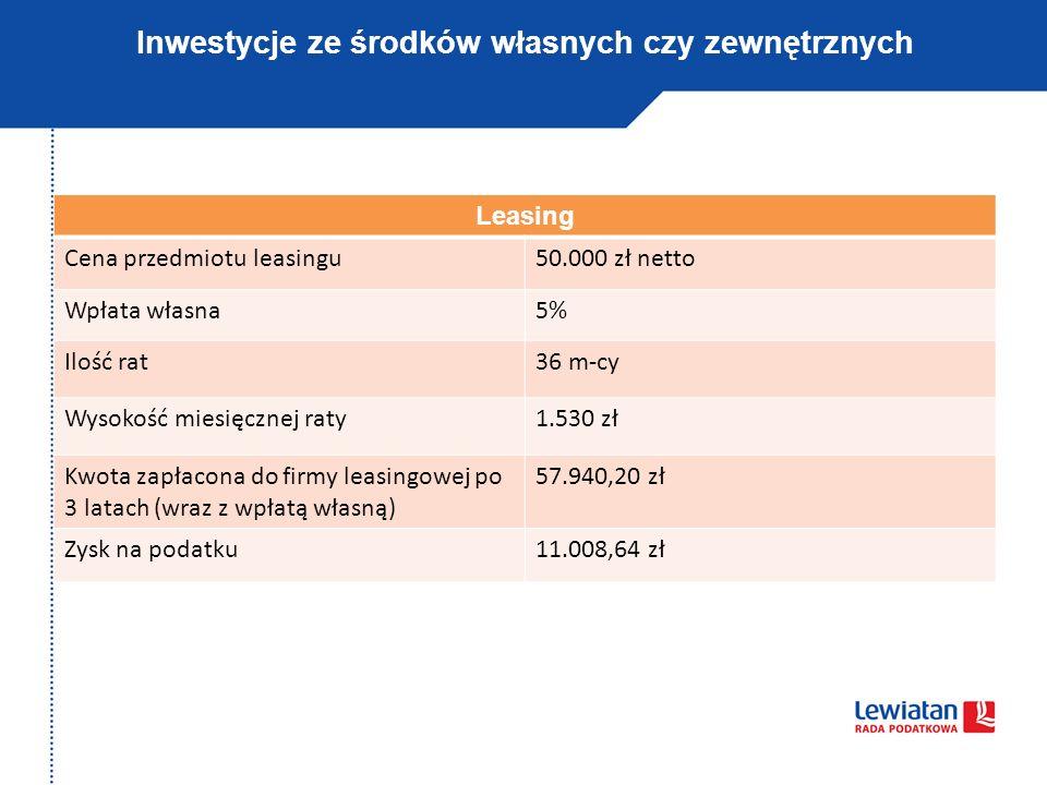Inwestycje ze środków własnych czy zewnętrznych Leasing Cena przedmiotu leasingu50.000 zł netto Wpłata własna5% Ilość rat36 m-cy Wysokość miesięcznej