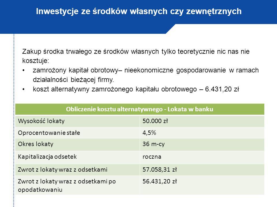 Inwestycje ze środków własnych czy zewnętrznych Obliczenie kosztu alternatywnego - Lokata w banku Wysokość lokaty50.000 zł Oprocentowanie stałe4,5% Ok