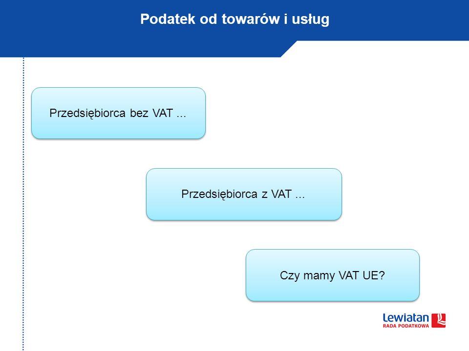 Podatek od towarów i usług Przedsiębiorca bez VAT... Przedsiębiorca z VAT... Czy mamy VAT UE?