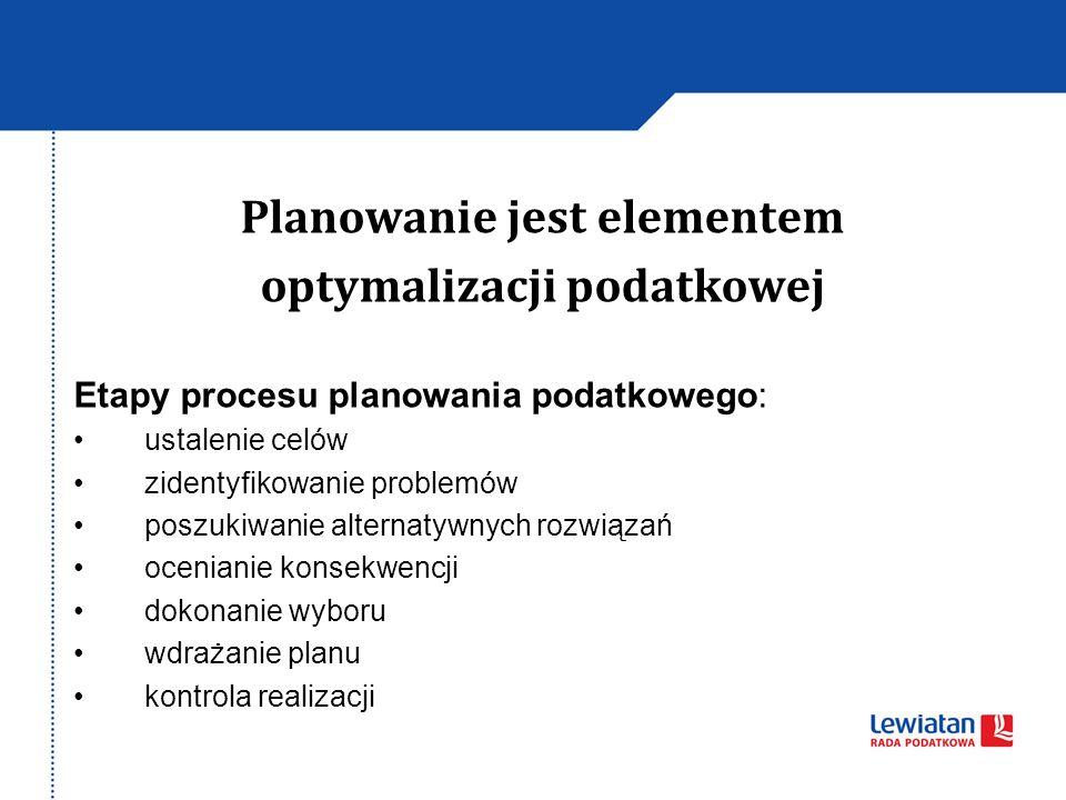 Planowanie jest elementem optymalizacji podatkowej Etapy procesu planowania podatkowego: ustalenie celów zidentyfikowanie problemów poszukiwanie alternatywnych rozwiązań ocenianie konsekwencji dokonanie wyboru wdrażanie planu kontrola realizacji
