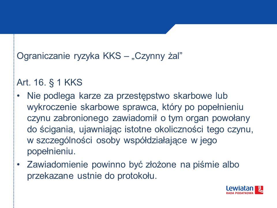 Ograniczanie ryzyka KKS – Czynny żal Art.16.