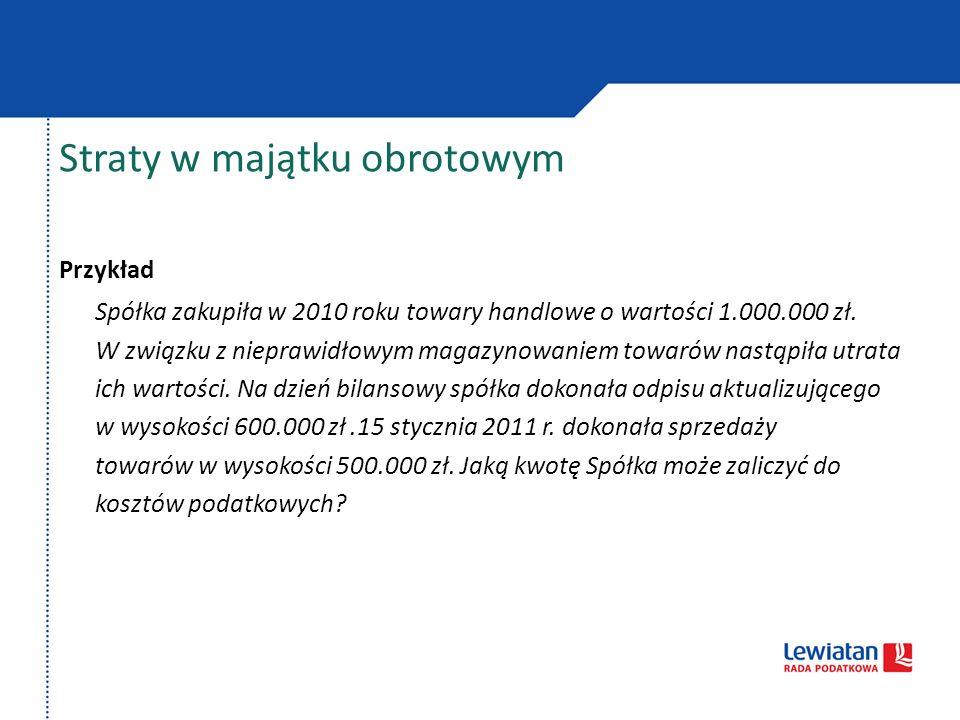 Straty w majątku obrotowym Przykład Spółka zakupiła w 2010 roku towary handlowe o wartości 1.000.000 zł. W związku z nieprawidłowym magazynowaniem tow