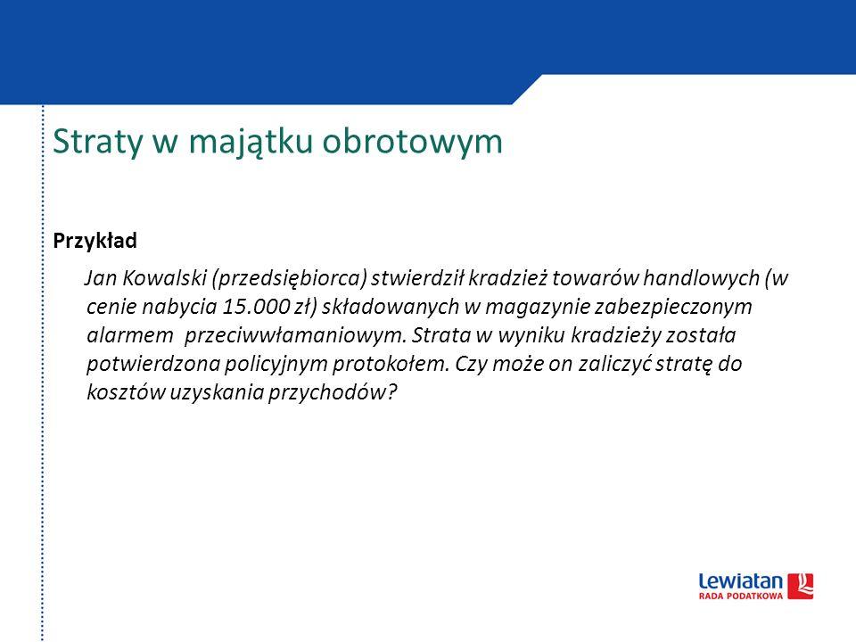 Straty w majątku obrotowym Przykład Jan Kowalski (przedsiębiorca) stwierdził kradzież towarów handlowych (w cenie nabycia 15.000 zł) składowanych w ma
