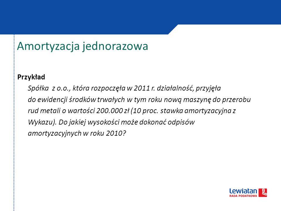 Przykład Spółka z o.o., która rozpoczęła w 2011 r. działalność, przyjęła do ewidencji środków trwałych w tym roku nową maszynę do przerobu rud metali