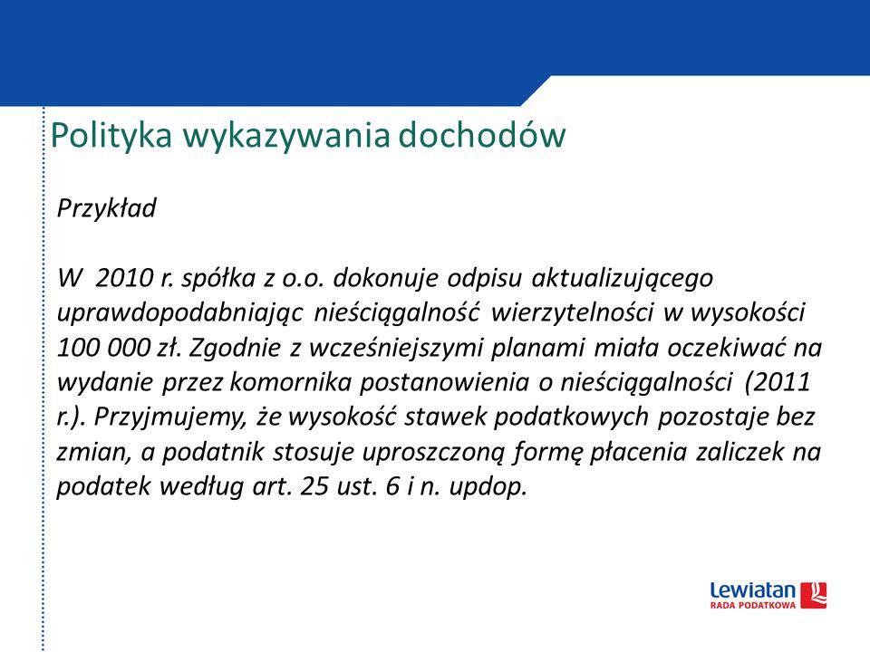 Polityka wykazywania dochodów Przykład Podatnik ustala z klientem, że towar (w cenie 10.000 zł) dostarczy 15.01.2011, zamiast – jak początkowo uzgodniono – w dniu 15.12.2010.
