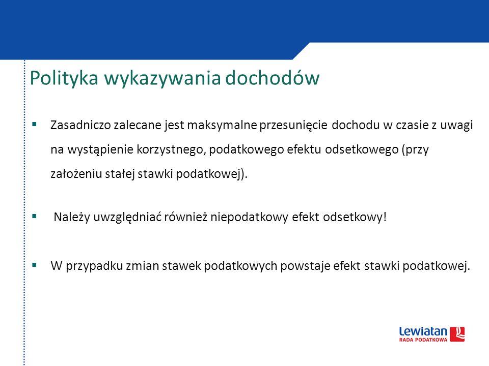 Polityka wykazywania dochodów Przykład Osoba fizyczna uzyska dochód w wysokości 100.000 zł.