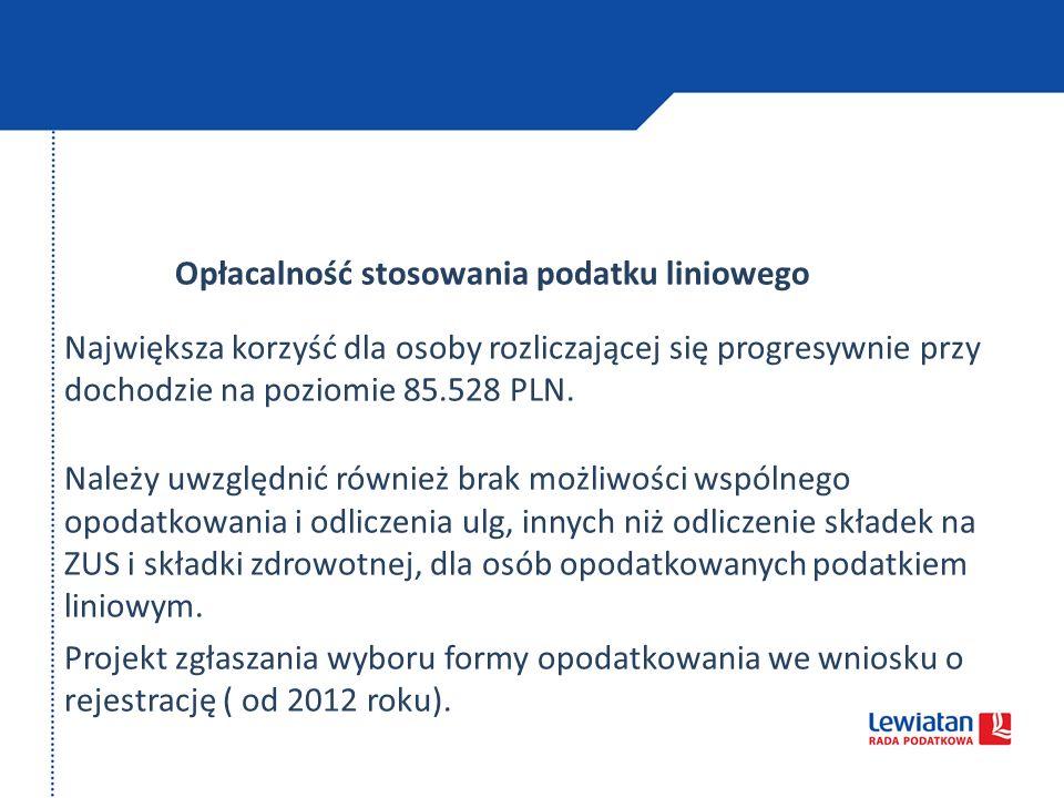 Opłacalność stosowania podatku liniowego Największa korzyść dla osoby rozliczającej się progresywnie przy dochodzie na poziomie 85.528 PLN. Należy uwz