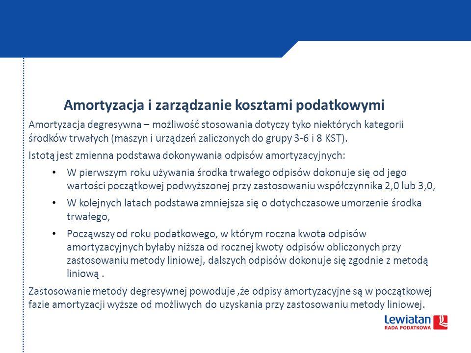 Amortyzacja i zarządzanie kosztami podatkowymi Amortyzacja degresywna – możliwość stosowania dotyczy tyko niektórych kategorii środków trwałych (maszy