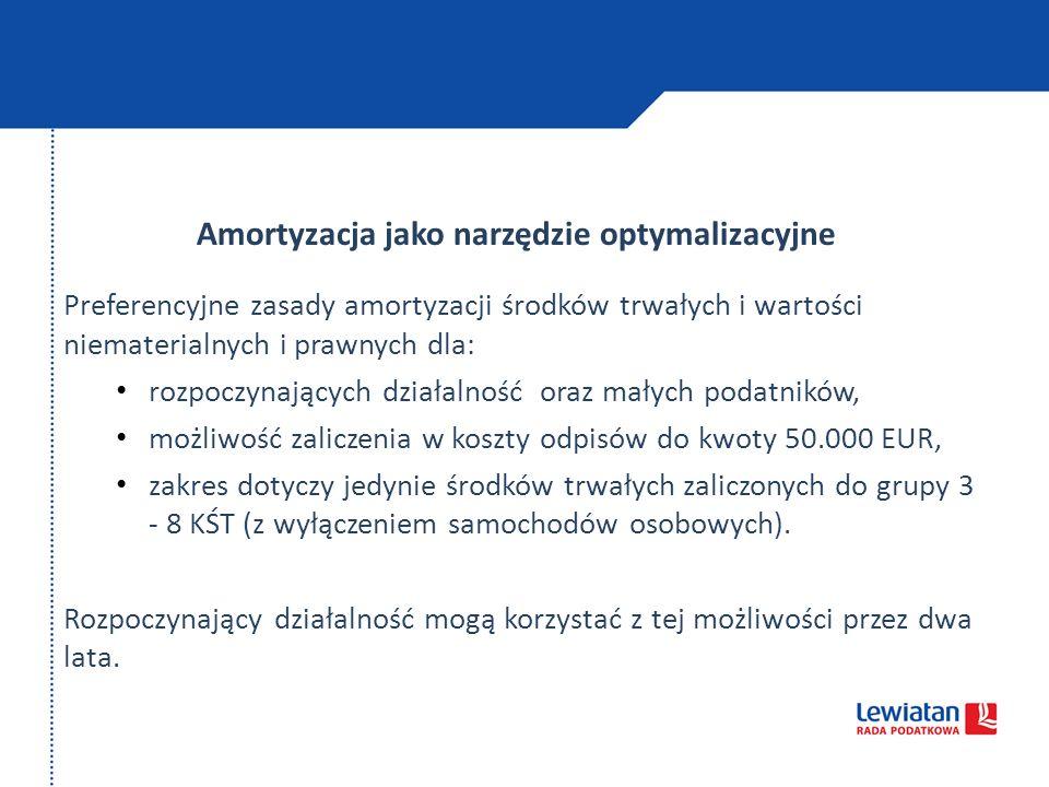 Amortyzacja jako narzędzie optymalizacyjne Preferencyjne zasady amortyzacji środków trwałych i wartości niematerialnych i prawnych dla: rozpoczynający