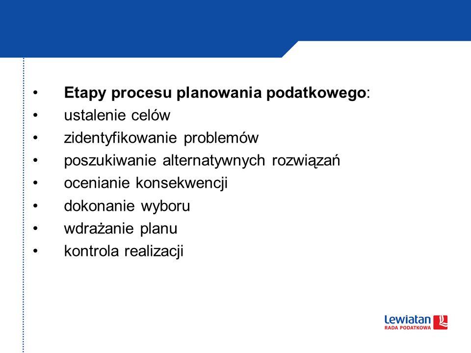 Etapy procesu planowania podatkowego: ustalenie celów zidentyfikowanie problemów poszukiwanie alternatywnych rozwiązań ocenianie konsekwencji dokonani