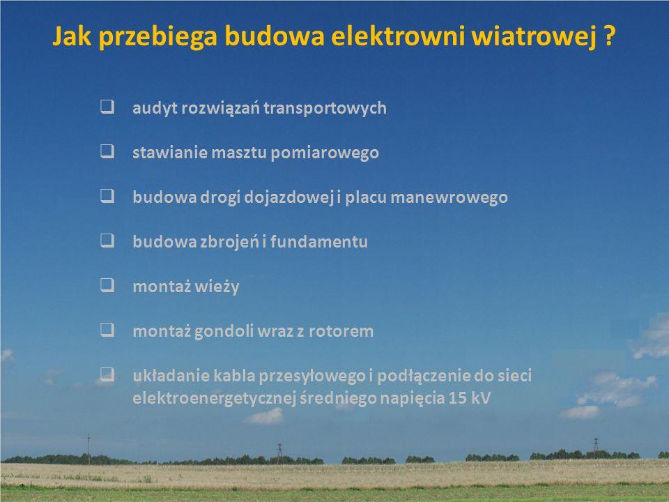 Jak przebiega budowa elektrowni wiatrowej ? audyt rozwiązań transportowych stawianie masztu pomiarowego budowa drogi dojazdowej i placu manewrowego bu
