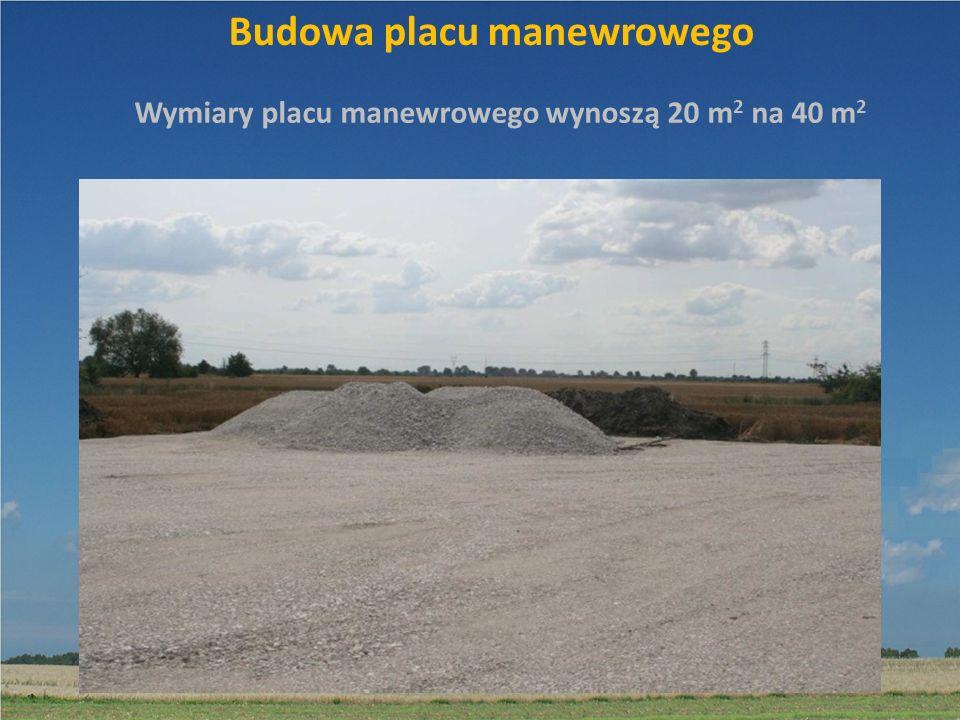 Budowa placu manewrowego Wymiary placu manewrowego wynoszą 20 m 2 na 40 m 2