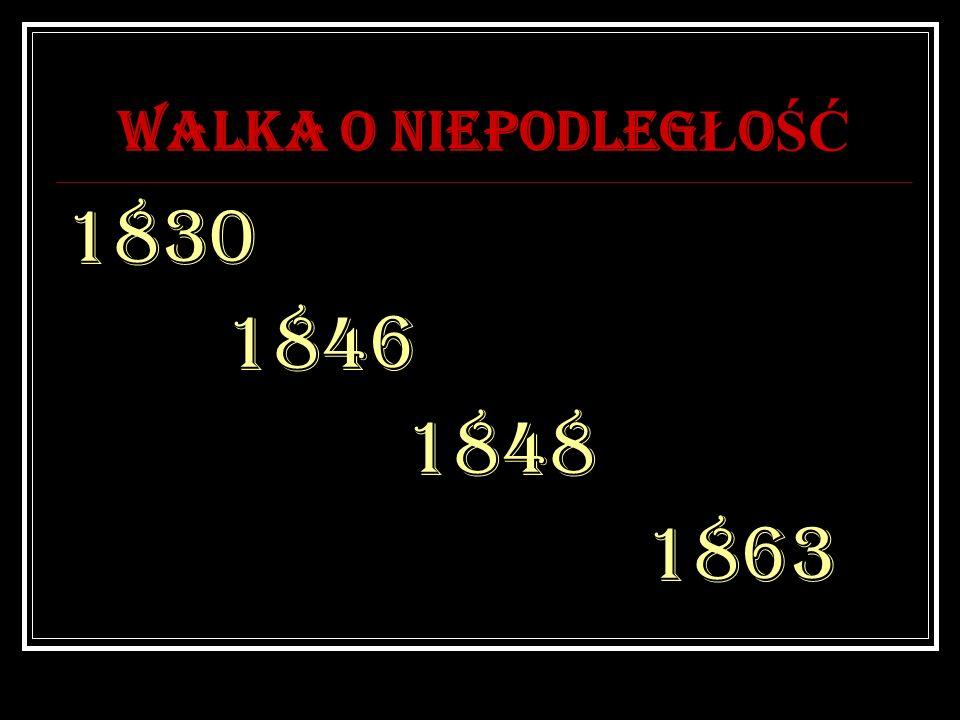 WALKA O NIEPODLEG Ł O ŚĆ 1830 1846 1848 1863