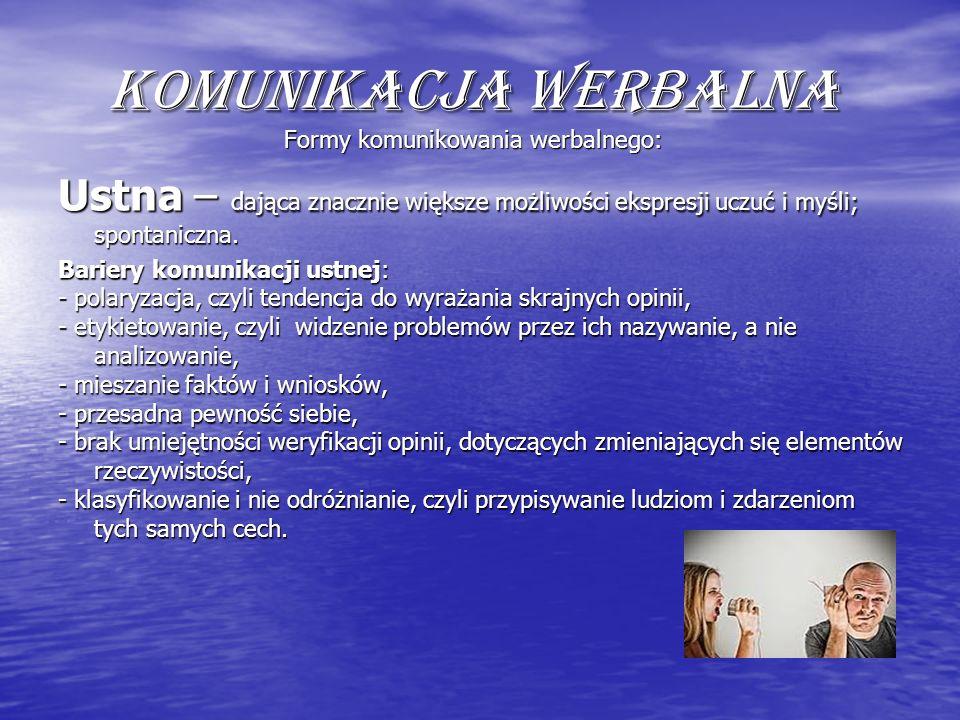 Komunikacja werbalna Formy komunikowania werbalnego: Ustna – dająca znacznie większe możliwości ekspresji uczuć i myśli; spontaniczna. Bariery komunik