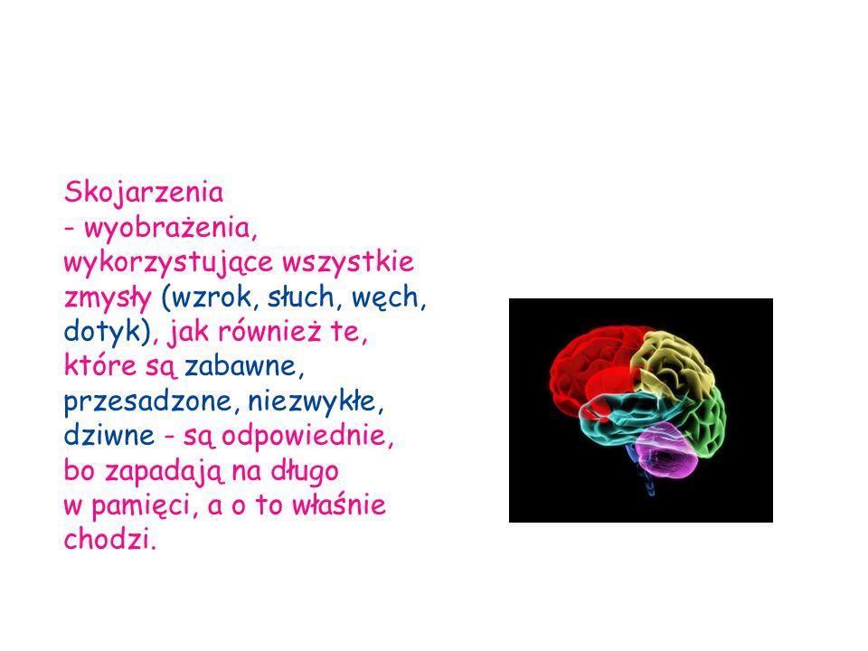 Skojarzenia - wyobrażenia, wykorzystujące wszystkie zmysły (wzrok, słuch, węch, dotyk), jak również te, które są zabawne, przesadzone, niezwykłe, dziw
