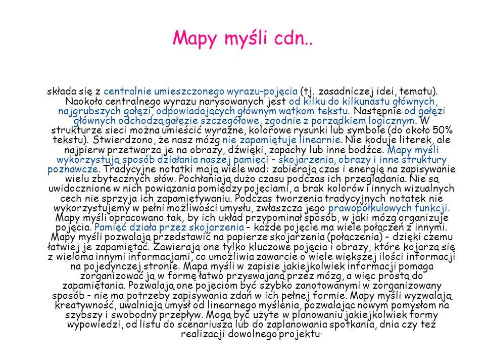 Mapy myśli cdn.. składa się z centralnie umieszczonego wyrazu-pojęcia (tj. zasadniczej idei, tematu). Naokoło centralnego wyrazu narysowanych jest od