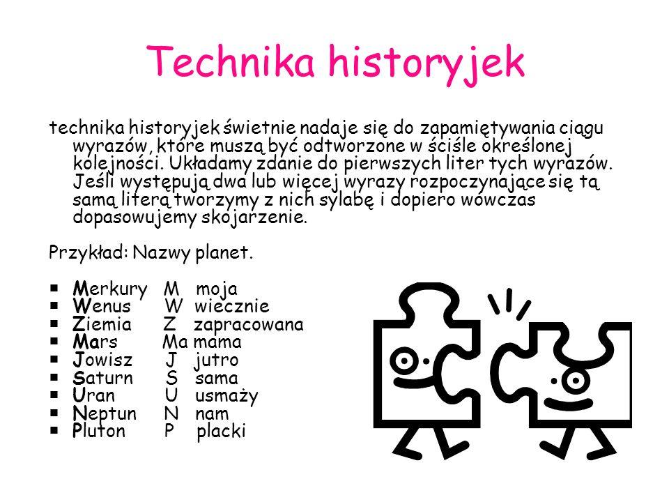 Technika historyjek technika historyjek świetnie nadaje się do zapamiętywania ciągu wyrazów, które muszą być odtworzone w ściśle określonej kolejności