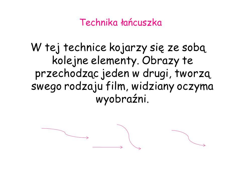 Technika łańcuszka W tej technice kojarzy się ze sobą kolejne elementy. Obrazy te przechodząc jeden w drugi, tworzą swego rodzaju film, widziany oczym