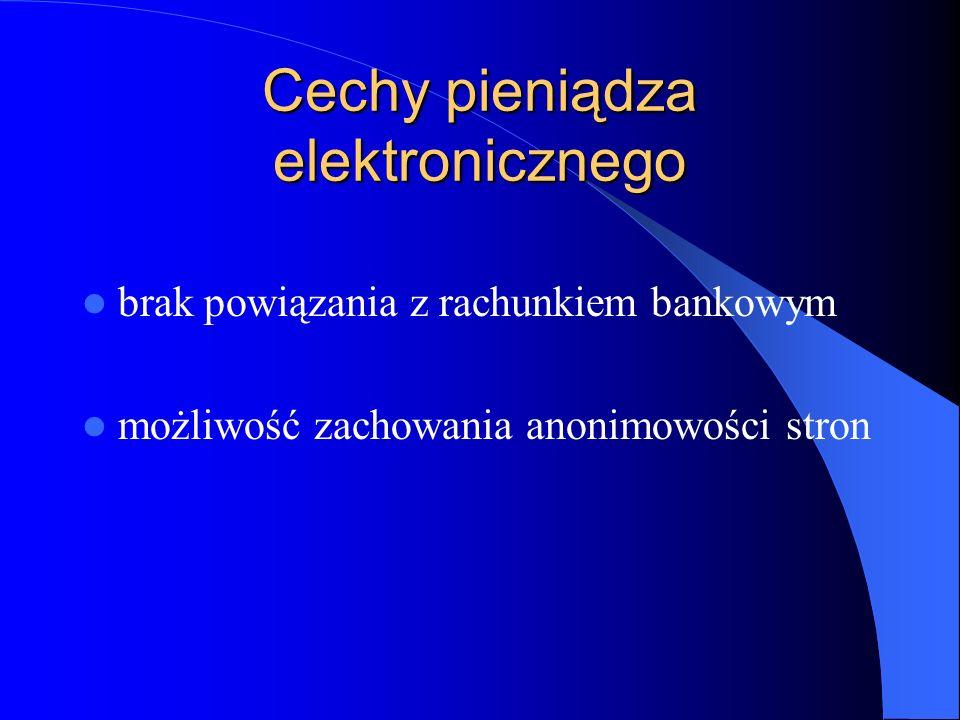 Cechy pieniądza elektronicznego brak powiązania z rachunkiem bankowym możliwość zachowania anonimowości stron