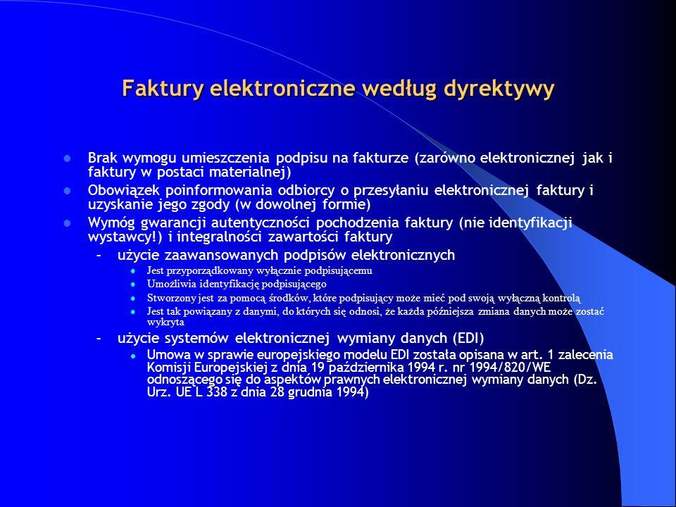 Faktury elektroniczne według dyrektywy Brak wymogu umieszczenia podpisu na fakturze (zarówno elektronicznej jak i faktury w postaci materialnej) Obowi