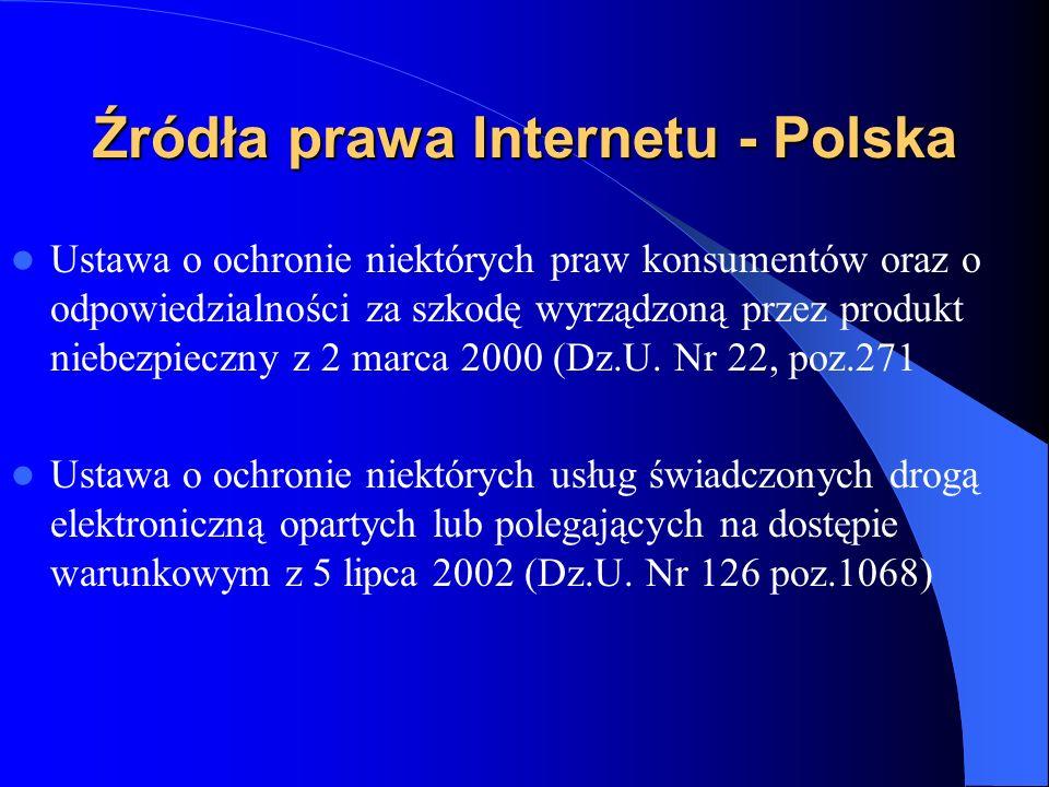 Źródła prawa Internetu - Polska Ustawa o elektronicznych instrumentach płatniczych z 12 września 2002 ( Dz.U.