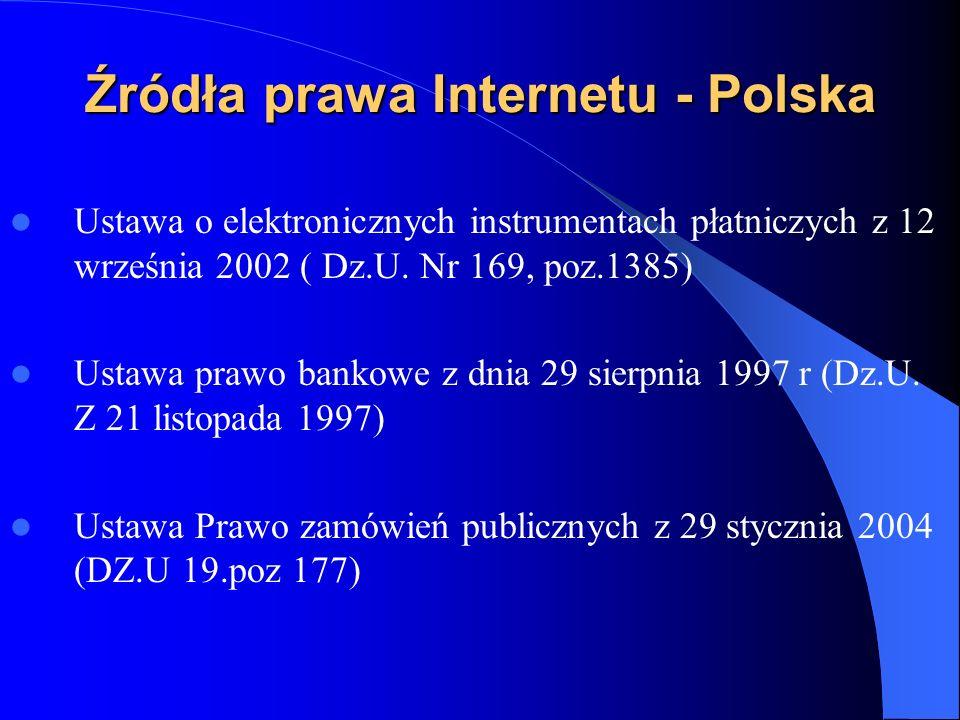 Źródła prawa Internetu - Polska Ustawa o przeciwdziałaniu wprowadzania do obrotu finansowego wartości majątkowych pochodzących z nielegalnych lub nieujawnionych źródeł oraz o przeciwdziałaniu finansowaniu terroryzmu Ustawa o informatyzacji działalności podmiotów realizujących zadania publiczne (Dz.U.