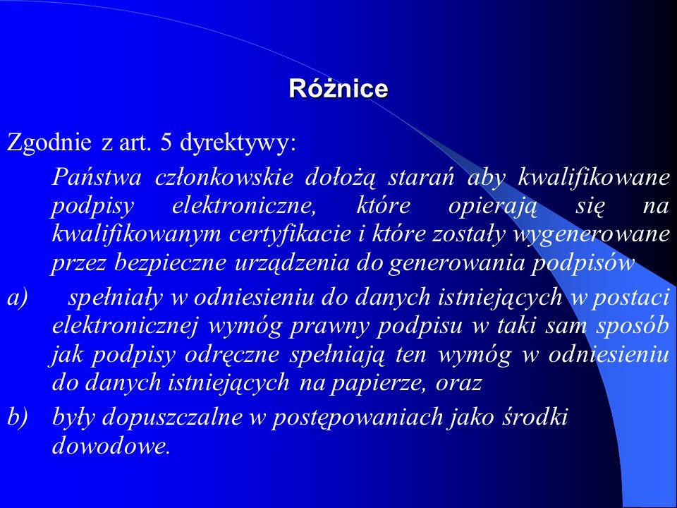 Hierarchia podpisów elektronicznych - Polska podpis elektroniczny bezpieczny podpis elektroniczny bezpieczny podpis elektroniczny weryfikowany kwalifikowanym certyfikatem
