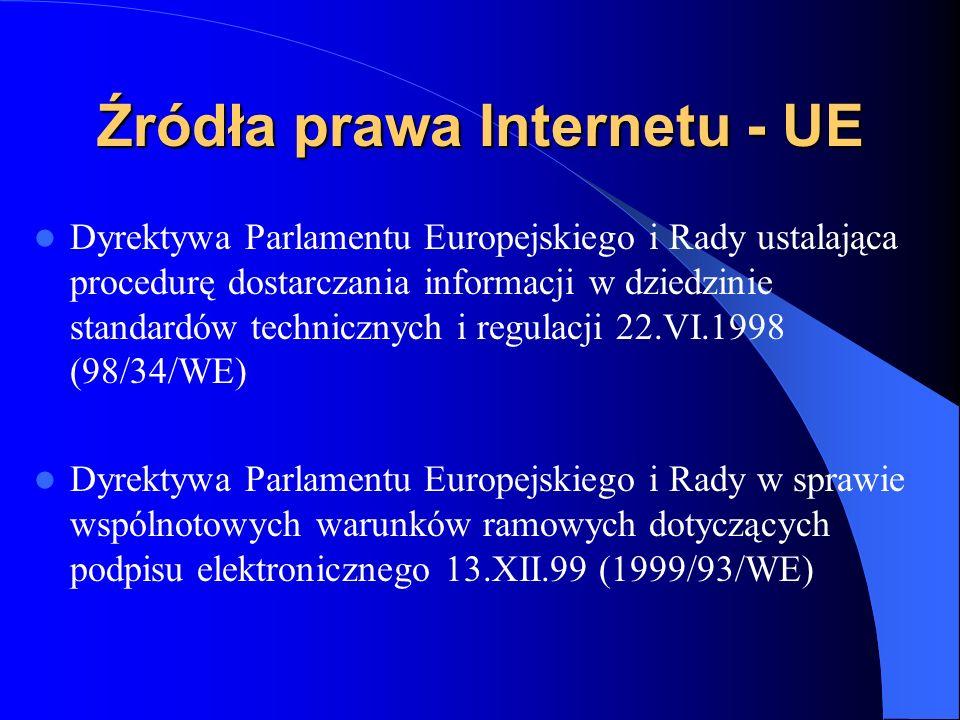 Źródła prawa Interenetu Dyrektywa Parlamentu Europejskiego i Rady 46/2000 z 18 września 2000 o podejmowaniu, wykonywaniu i nadzorze nad działalnością instytucji pieniądza elektronicznego (Dz.Urz.