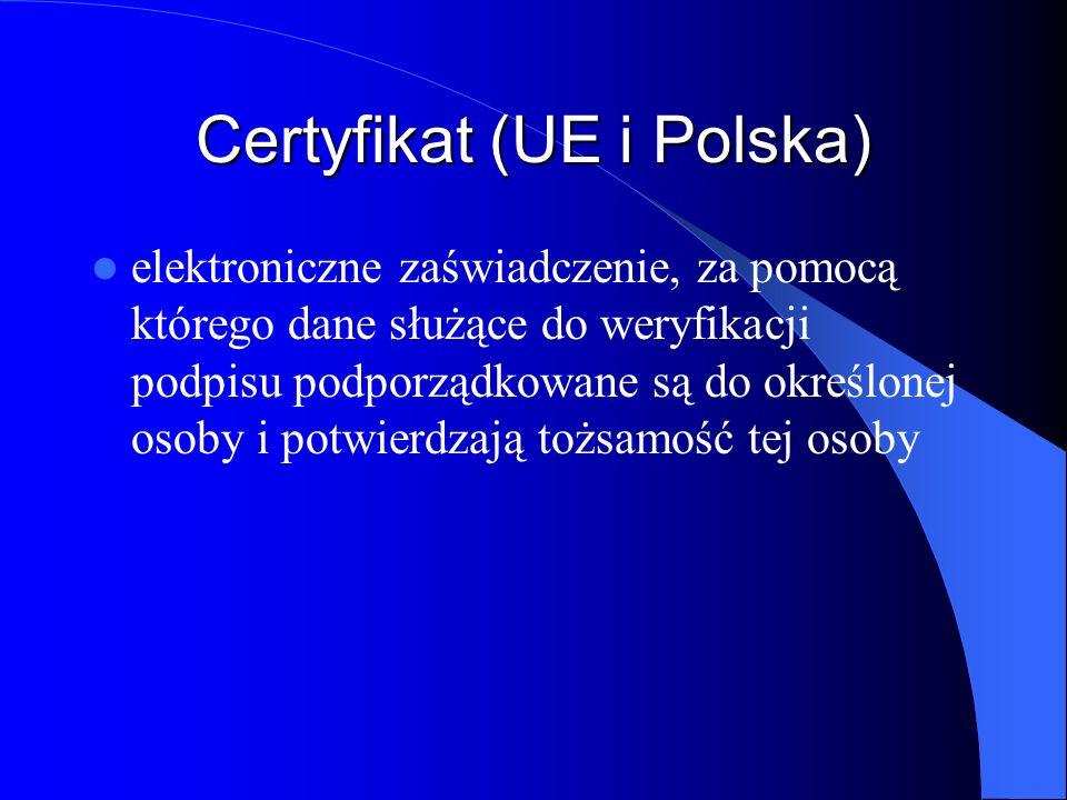 Kwalifikowany certyfikat (UE i Polska) – Kwalifikowany certyfikat zawiera co najmniej następujące dane: - numer certyfikatu, - wskazanie, że certyfikat został wydany jako certyfikat kwalifikowany do stosowania zgodnie z określoną polityką certyfikacji, - określenie podmiotu świadczącego usługi certyfikacyjne wydającego certyfikat i państwa, w którym ma on siedzibę, oraz numer pozycji w rejestrze kwalifikowanych podmiotów świadczących usługi certyfikacyjne, - imię i nazwisko lub pseudonim osoby składającej podpis elektroniczny; użycie pseudonimu musi być wyraźnie zaznaczone,