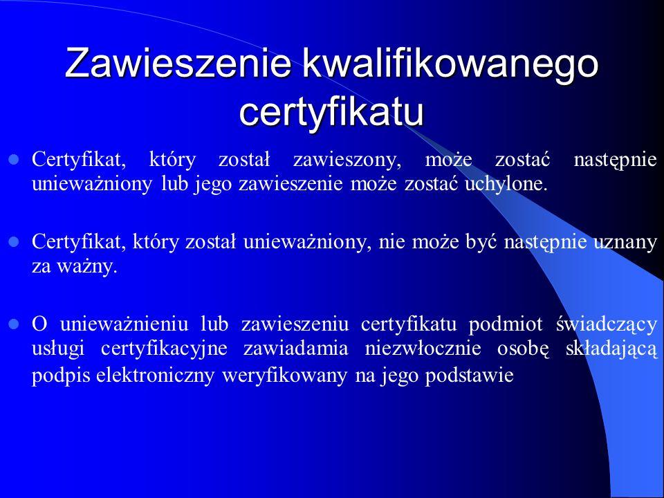 Zawieszenie kwalifikowanego certyfikatu Art.5. 1.