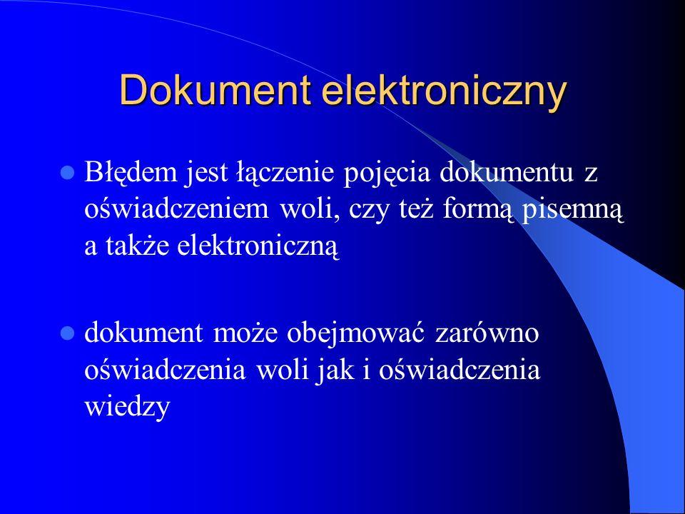Dokument elektroniczny Błędem jest łączenie pojęcia dokumentu z oświadczeniem woli, czy też formą pisemną a także elektroniczną dokument może obejmowa
