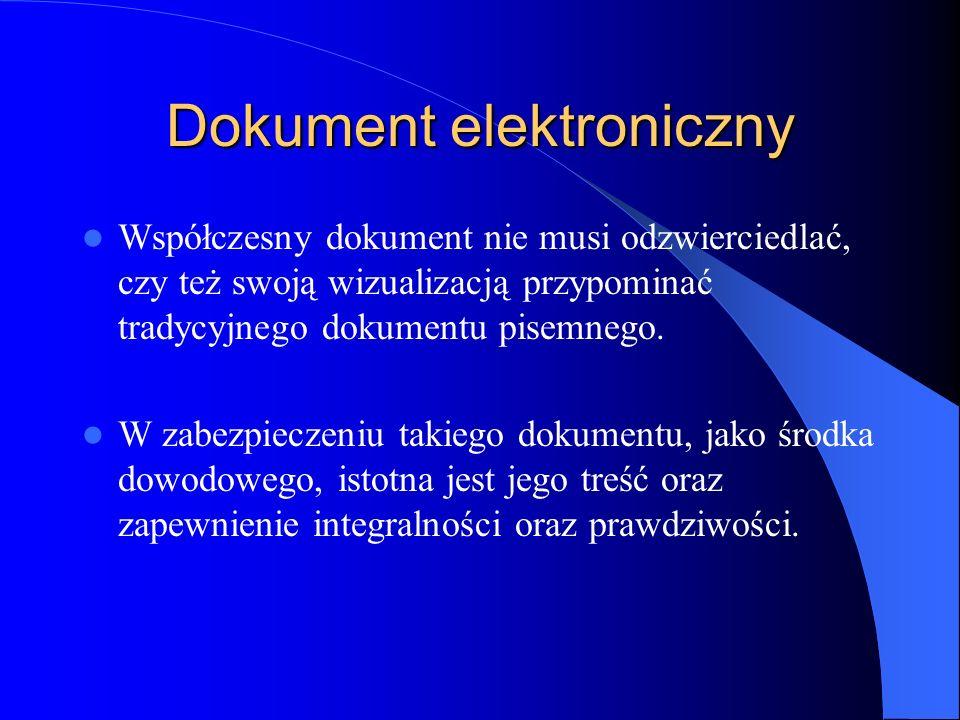 Dokument elektroniczny Współczesny dokument nie musi odzwierciedlać, czy też swoją wizualizacją przypominać tradycyjnego dokumentu pisemnego. W zabezp
