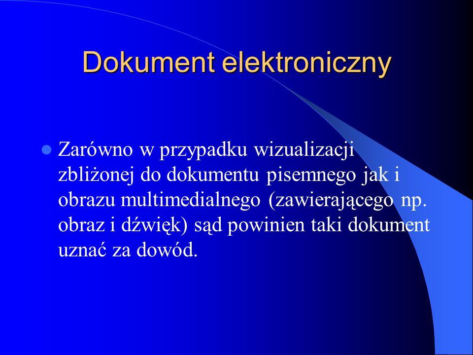 Dokument elektroniczny Zarówno w przypadku wizualizacji zbliżonej do dokumentu pisemnego jak i obrazu multimedialnego (zawierającego np. obraz i dźwię