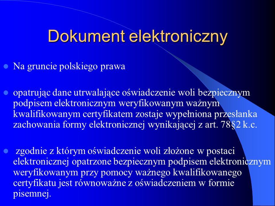 Dokument elektroniczny Na gruncie polskiego prawa opatrując dane utrwalające oświadczenie woli bezpiecznym podpisem elektronicznym weryfikowanym ważny