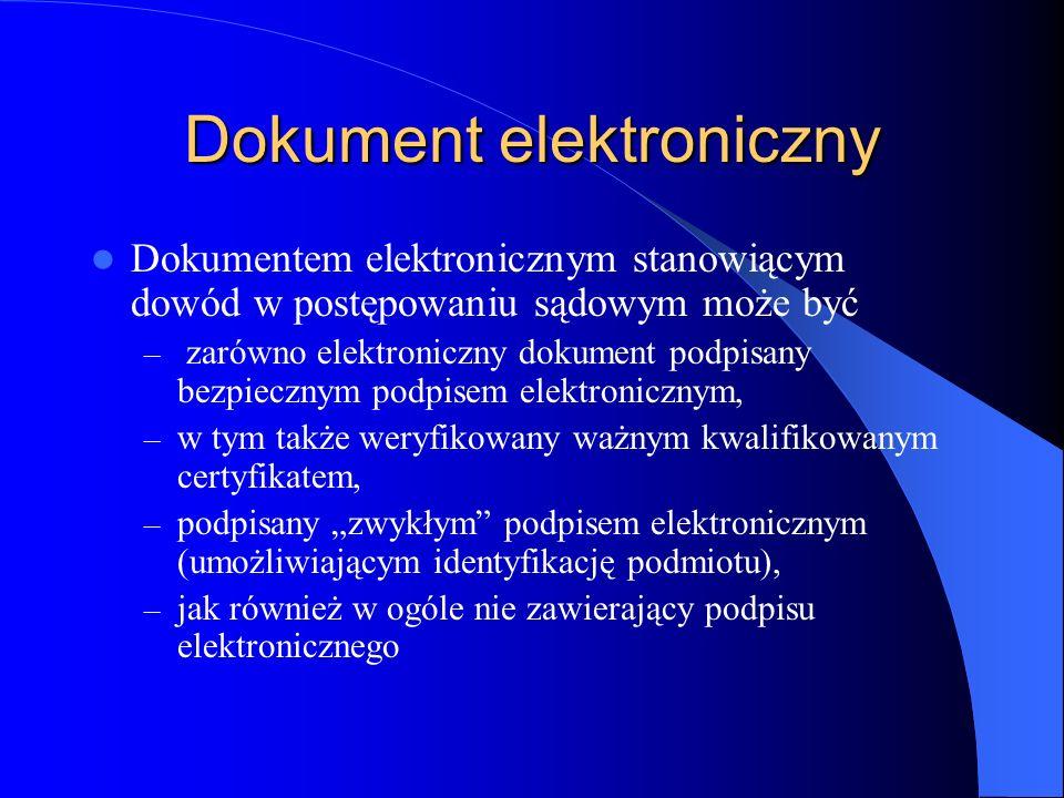Dokument elektroniczny Dokumentem elektronicznym stanowiącym dowód w postępowaniu sądowym może być – zarówno elektroniczny dokument podpisany bezpiecz