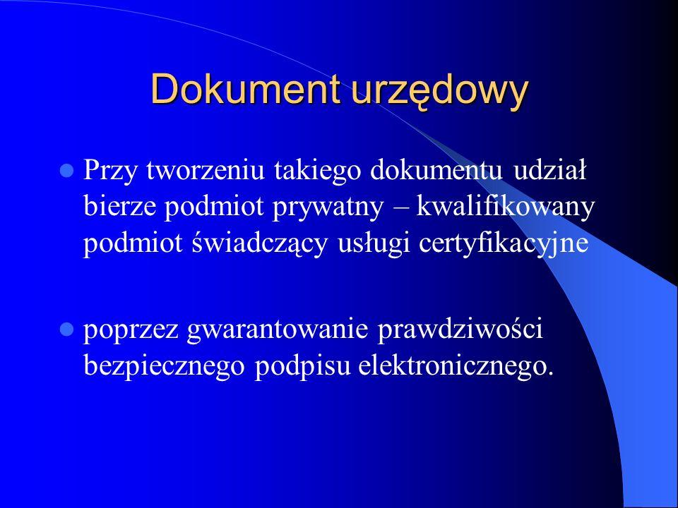 Dokument urzędowy Przy tworzeniu takiego dokumentu udział bierze podmiot prywatny – kwalifikowany podmiot świadczący usługi certyfikacyjne poprzez gwa