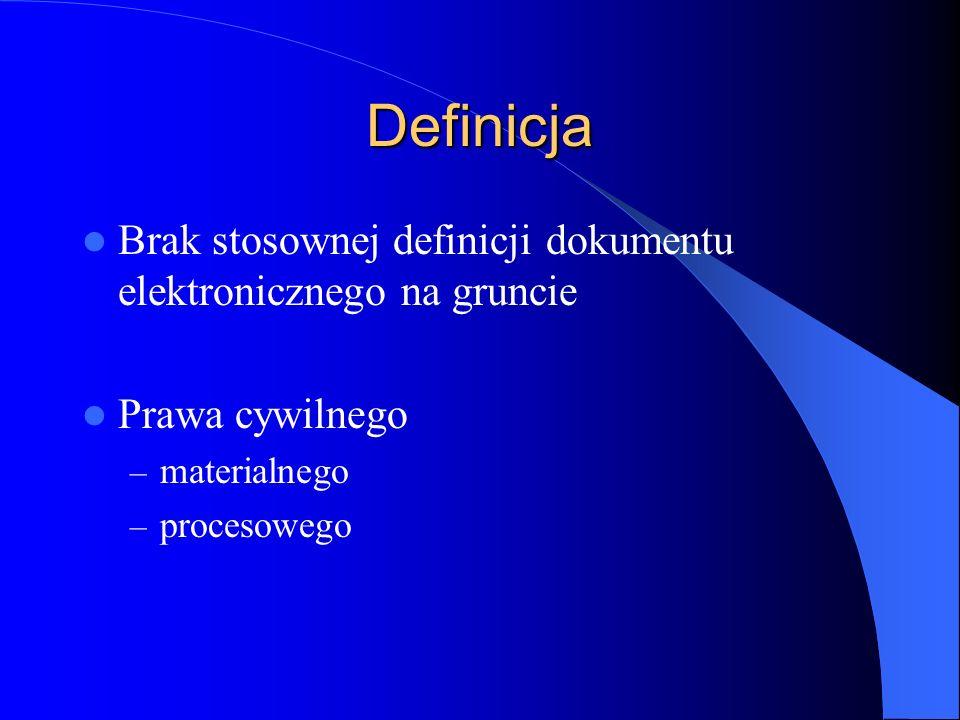 Definicja Brak stosownej definicji dokumentu elektronicznego na gruncie Prawa cywilnego – materialnego – procesowego