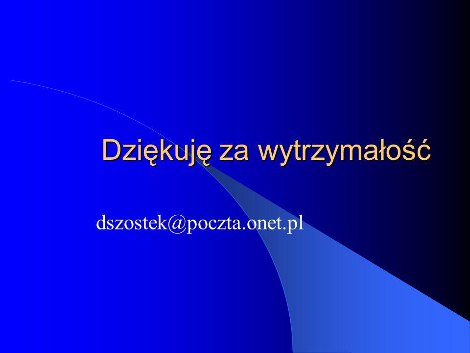 Dziękuję za wytrzymałość dszostek@poczta.onet.pl