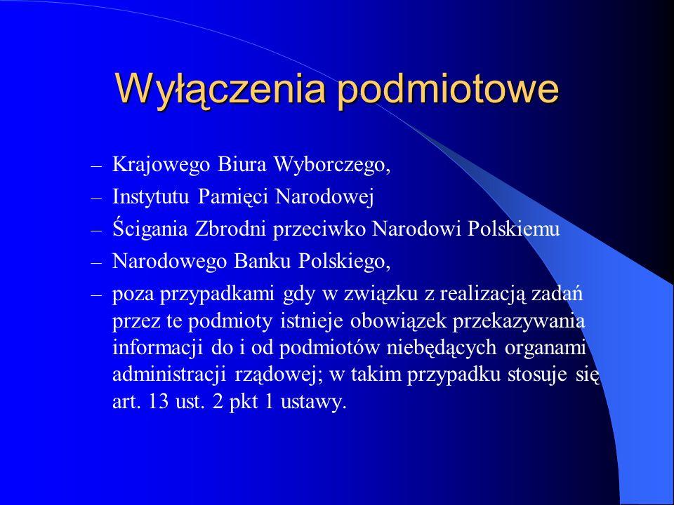 Wyłączenia podmiotowe – Krajowego Biura Wyborczego, – Instytutu Pamięci Narodowej – Ścigania Zbrodni przeciwko Narodowi Polskiemu – Narodowego Banku P