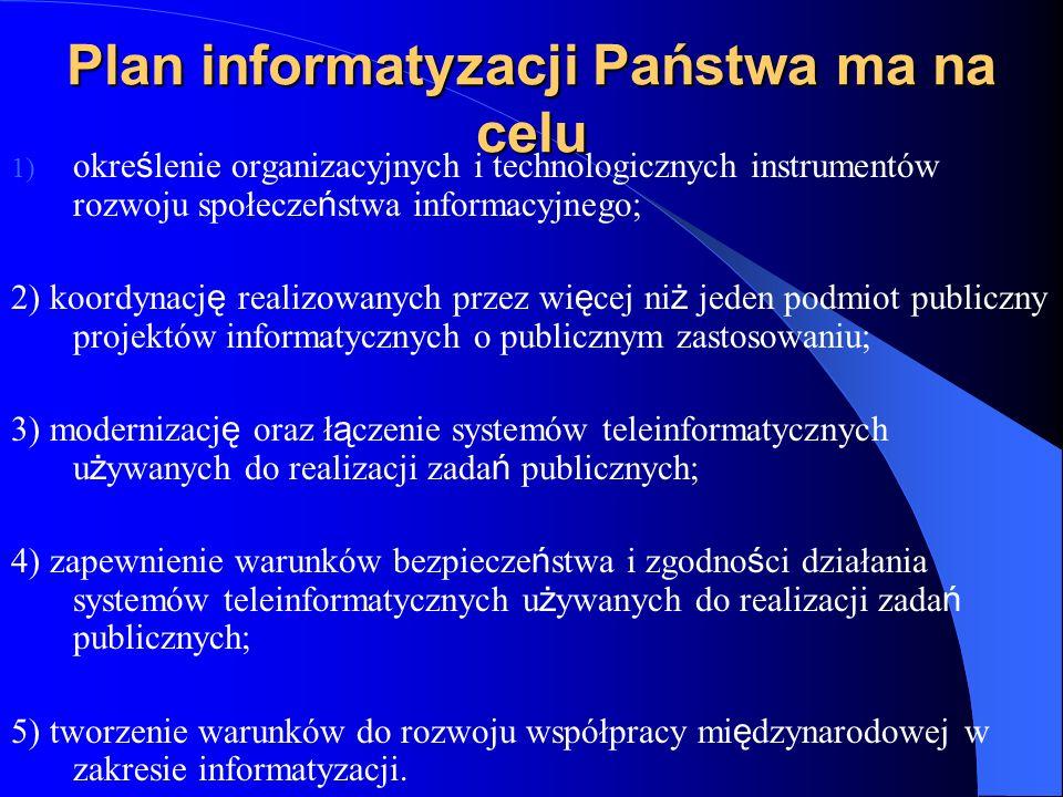 Plan informatyzacji Państwa ma na celu 1) okre ś lenie organizacyjnych i technologicznych instrumentów rozwoju społecze ń stwa informacyjnego; 2) koor